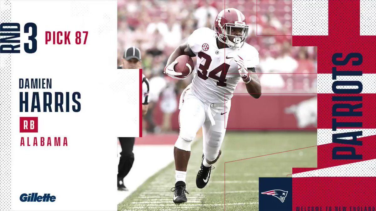 With the 87th pick in the #NFLDraft, the #Patriots select RB Damien Harris. @DHx34 | #PatsDraft