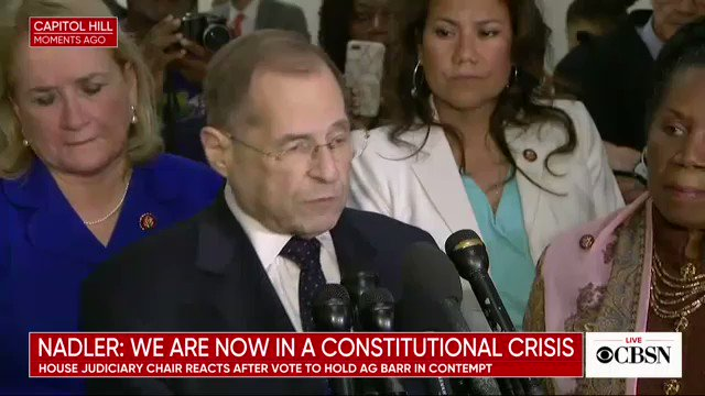 """Nadler following vote to hold AG Barr in contempt: """"We are now in a constitutional crisis."""" https://cbsn.ws/2iuAAgA"""