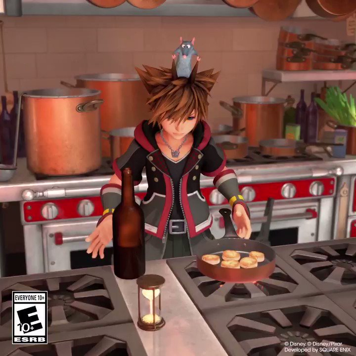In #KingdomHearts III, Sora has grown up and even started cooking all by himself… we think? If it's not him, who's helping?