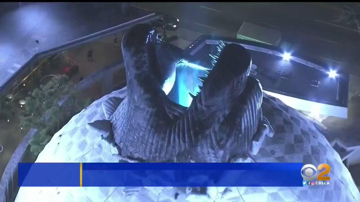 SPOTTED FROM SKY9: Godzilla breaking through the roof of Hollywood's famous Cinerama Dome https://cbsloc.al/2LzxBlw