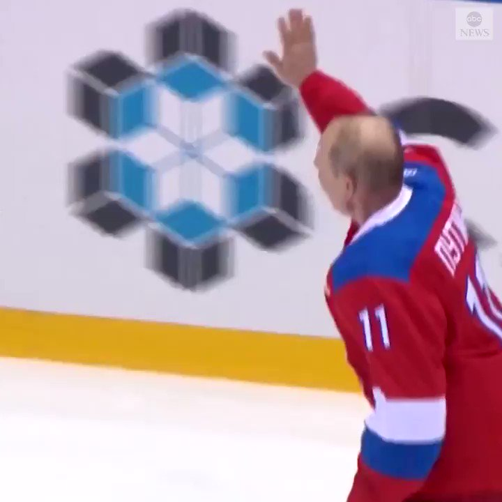 Russian President Vladimir Putin took a fall as he waved to the crowd during an ice-hockey game in Sochi. He scored eight goals during the exhibition match in what has become a yearly tradition. https://abcn.ws/2HgCBG5