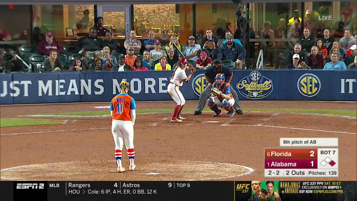 Here it is! The final out that crowned the Gators CHAMPIONS!! #SECSB #GoGators