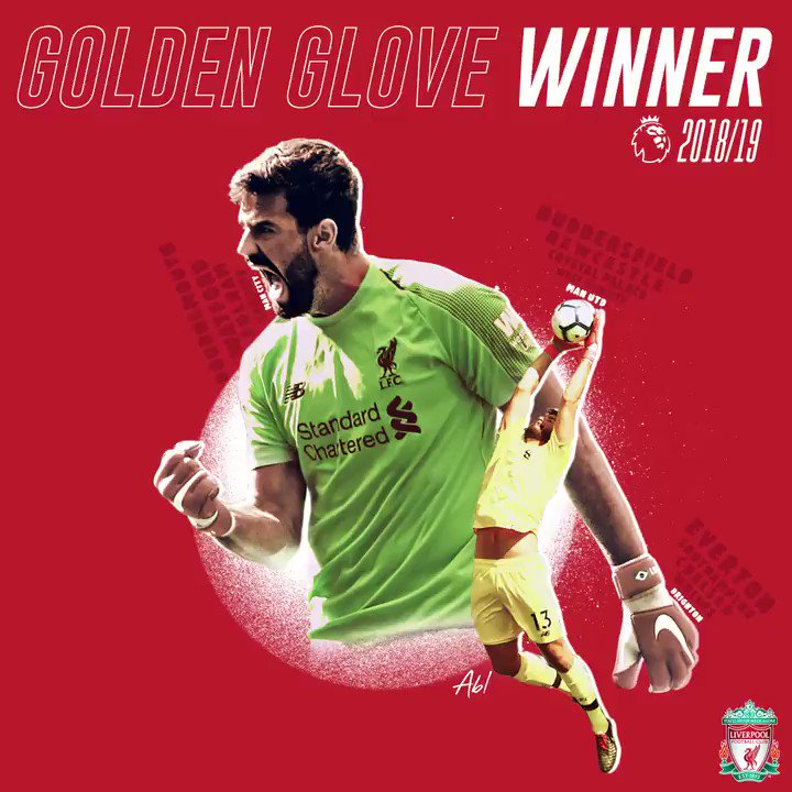 A brilliant debut season for the Reds. 👏  Our @Alissonbecker wins the @premierleague Golden Glove, with 21 clean sheets. 🙌🔴
