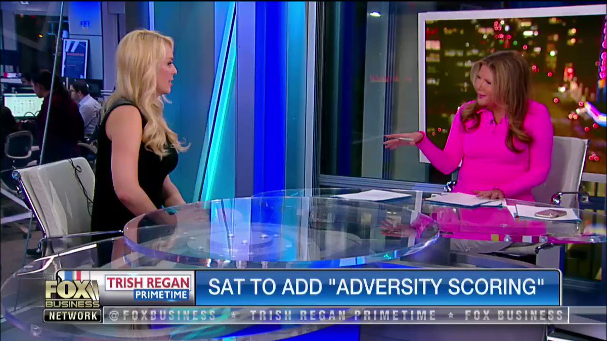 """.@BrittMcHenry and @Emmameshell slam the SAT board for its new SECRET score, shown to colleges but not test-takers… all designed to quantify """"adversity"""" -- watch! #TrishRegan"""
