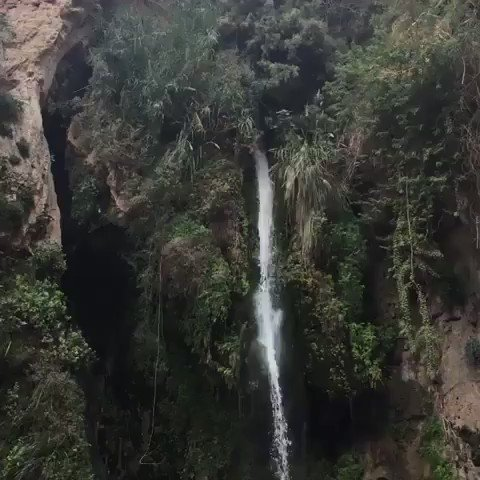 The David Falls in Judean Desert.   It is named after King David, who escaped Saul's pursuit at this site in Ein Gedi. #Israel