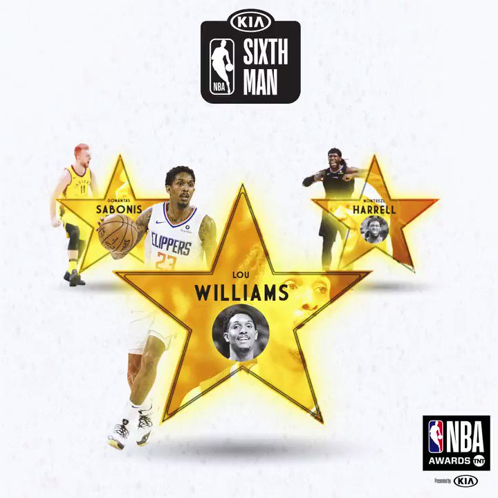 Here are your 2018-19 #KiaSixth finalists… ⭐️ Lou Williams ⭐️ Montrezl Harrell ⭐️ Domantas Sabonis #NBAAwards