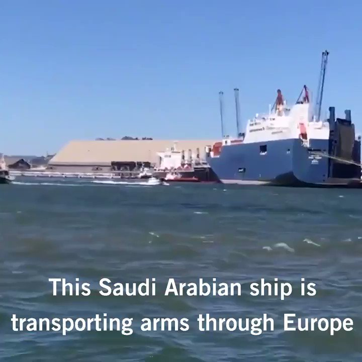 This Saudi-Arabian ship is carrying arms likely bound for Yemen. Activists stopped it in France. Join us in stopping it again. No EU state should authorize the transfer of arms to a conflict where there is a clear risk they will be used in war crimes.