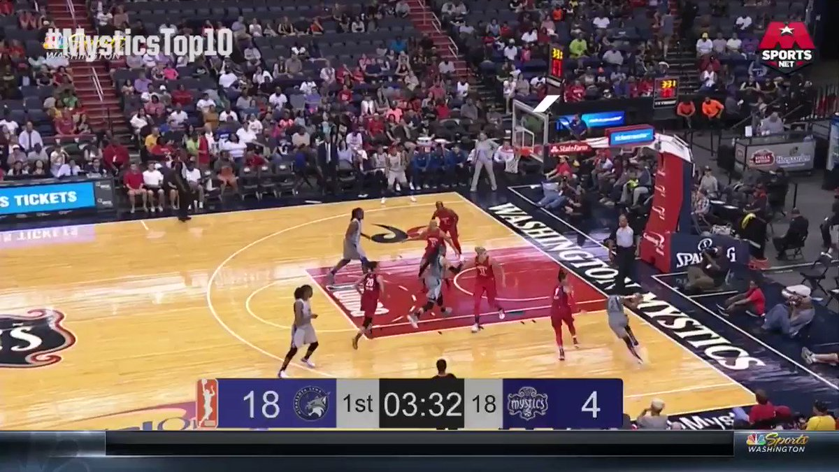 #MysticsTop10 #️⃣8️⃣: @KristiToliver hits Elena @De11eDonne with the no-look ❌👀 dime for two!  #TogetherDC