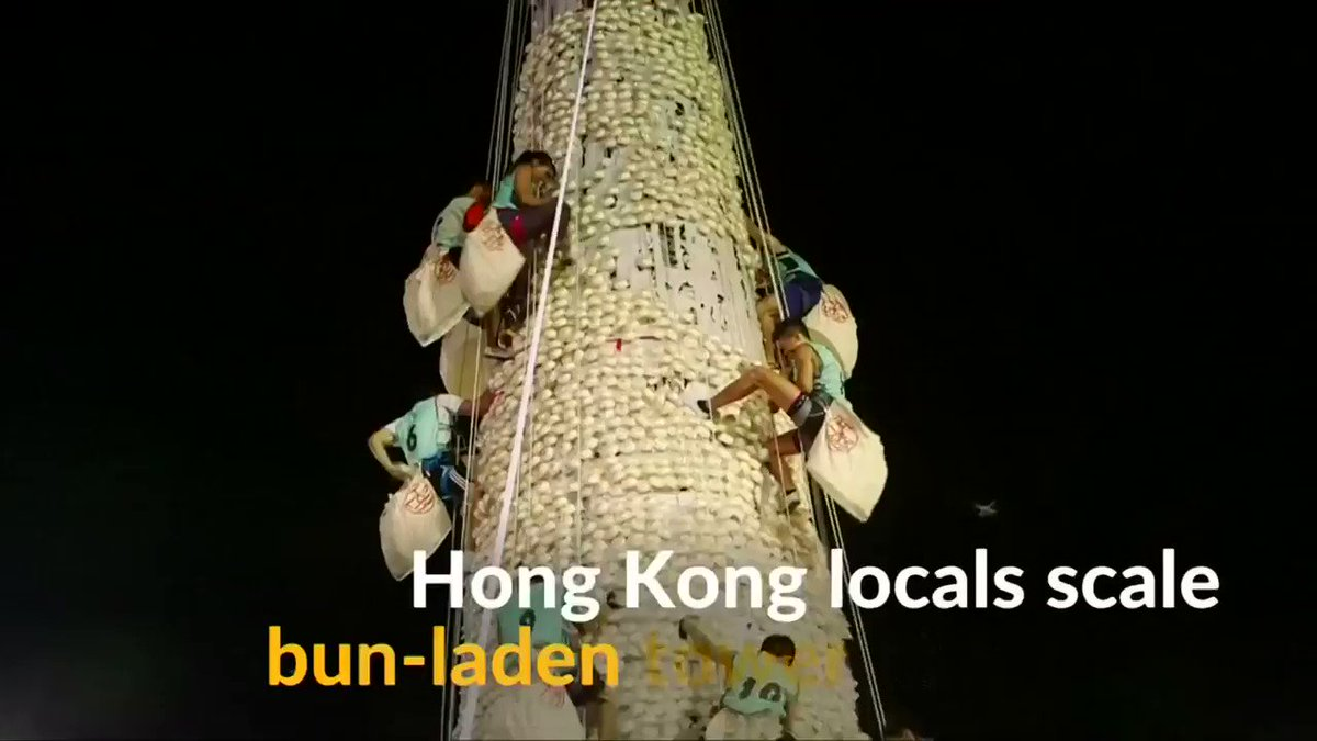 Seven-day Cheung Chau Bun Festival comes to an end with participants scaling 60-foot bun-laden tower