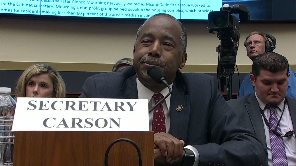"""Rep. Katie Porter: """"I'd also like you to get back to me if you don't mind to explain the disparity in REO rates. Do you know what an REO is?""""  Sec. Ben Carson: """"An Oreo?""""  Rep. Porter: """"No, not an Oreo. R-E-O. R-E-O."""""""