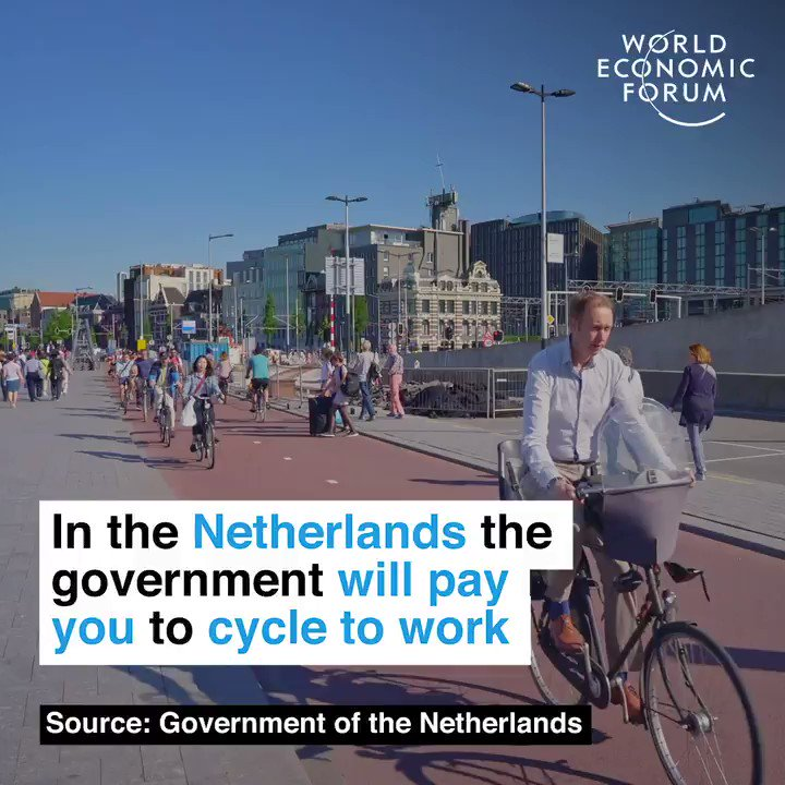 27% of journeys in the country are already by bike. 📕 Read more: wef.ch/2Nn0Cy8 #netherlands #cycling