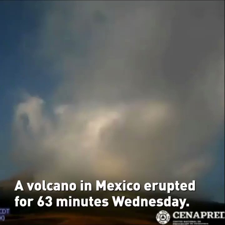 # Popocatepetl #volcano erupts in #Mexico for over an hour