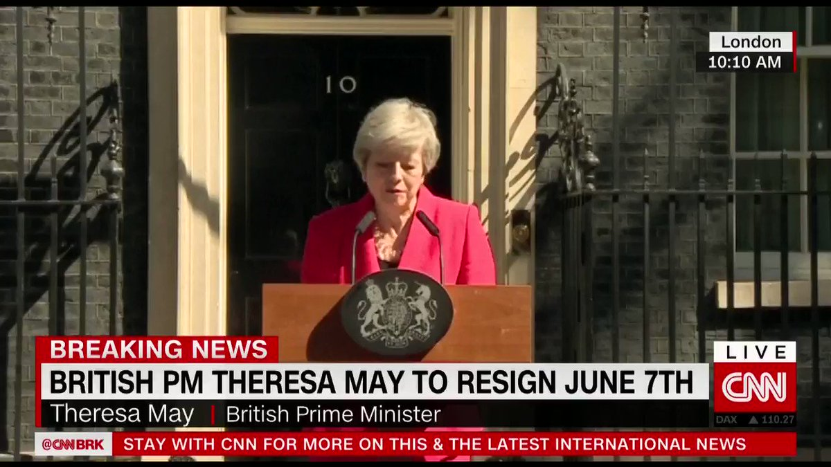 """I will shortly leave the job that it has been the honor of my life to hold,"" said British Prime Minister Theresa May in a tearful statement announcing her resignation https://cnn.it/2YMaSo4"