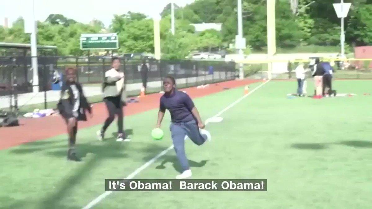 """It's Obama! Barack Obama!""  Watch former President Barack Obama surprise some students at the Washington Nationals Youth Baseball Academy https://cnn.it/2Ew6JNh"