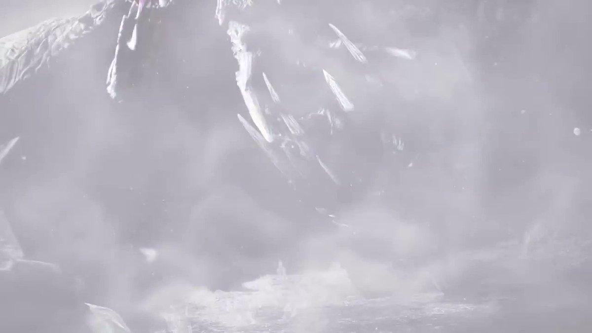 「イヴェルカーナ」は万物を凍てつかせる古龍。古い伝承によれば冷気を自在に操るとされ、極低温のブレスを放つ。どのような生態なのか現在調査中である。#MHWアイスボーン