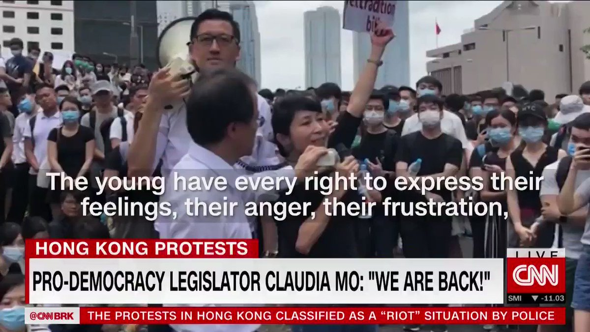 """""""At the end of the Umbrella Movement, didn't we say we will be back? And now, we are back!""""  Hong Kong pro-democracy lawmaker Claudia Mo gave an impassioned speech in front of protesters today. She speaks to @klustout about the city's anti-extradition bill demonstrations."""