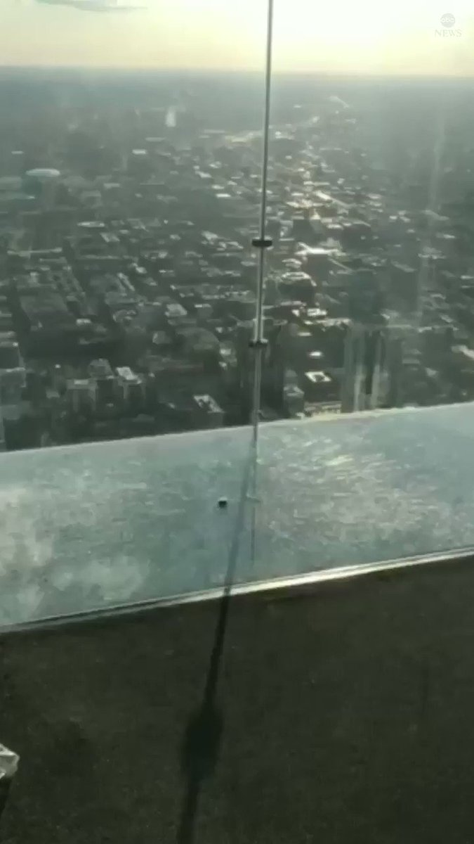 Visitors to Chicago's Willis Tower, the city's tallest building, captured video that appears to show cracks in the floor of its SkyDeck ledge 103 floors above ground. https://abcn.ws/2IcEntx