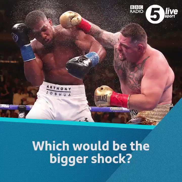 🥊 Would Tyson Fury losing to Tom Schwarz be a bigger shock than Anthony Joshua losing to Andy Ruiz Jr?@bigdaddybunce asks the question🤔 What do you think?Listen live 👇📲📻: http://bbc.in/2IFt5xb#bbcboxing