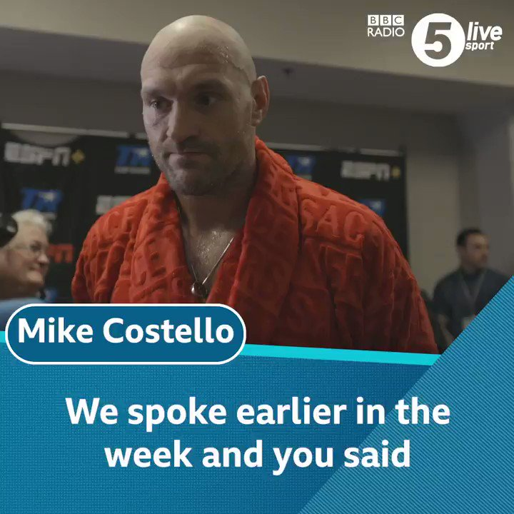 'I got lucky tonight and a I put on a good show' 🥊@Tyson_Fury talks to Mike Costello in his dressing room after beating Tom Schwarz ✊Listen to the latest post-fight podcast with Costello & @bigdaddybunce as they dissect #FurySchwarz🎧http://bbc.in/2KllAyt #BBCBoxing