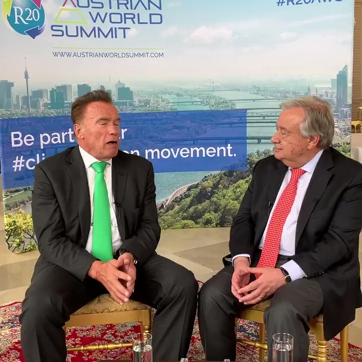 """""""This will kill you"""" -- Arnold @Schwarzenegger & @antonioguterres talk about health risks of the climate emergency and why it's important that everybody joins the #ClimateAction movement. http://bit.ly/2HVhACH"""