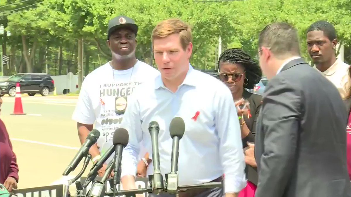 """There's nothing that we propose here today that is at odds with what this organization claims they stand for.""  Rep. @EricSwalwell announces gun plan outside the NRA headquarters in Fairfax, VA."