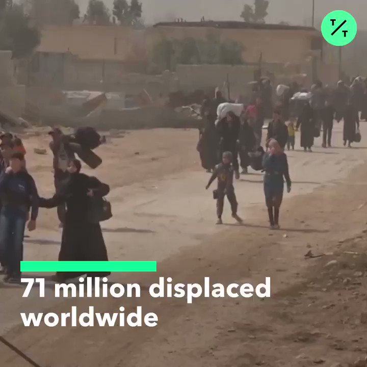 A record 71 million people have been displaced worldwide by war, persecution and other violence, the UN refugee agency says
