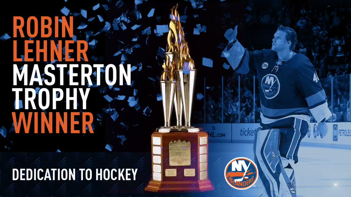 """""""At the end of the day, everyone deals with something. There are a lot of people that have some type of mental issues that have a lot of success that are not out front and open about it. There's a lot of change that needs to be made.""""   @RobinLehner on winning the Masterton:"""