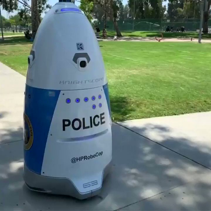 A Southern California police force is welcoming a robot to the department.  Huntington Park police department says the blue-and-white rolling robot serves as an extra set of eyes for areas such as parks and buildings that police might not have time to patrol.