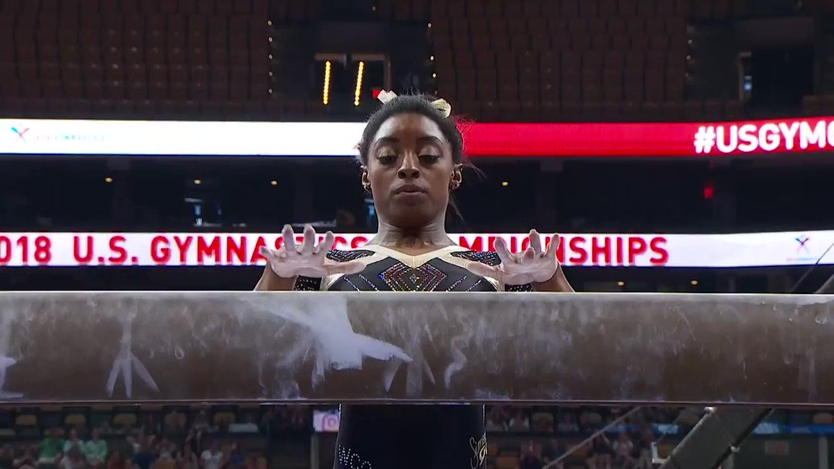 Why not watch @Simone_Biles beam on a Friday morning? 👑