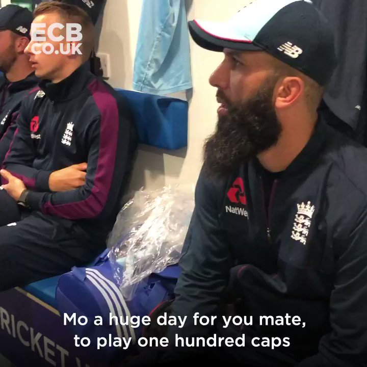 🧢 The moment Moeen Ali received his 100th ODI cap courtesy of a message from an @LFC legend! ⚽️
