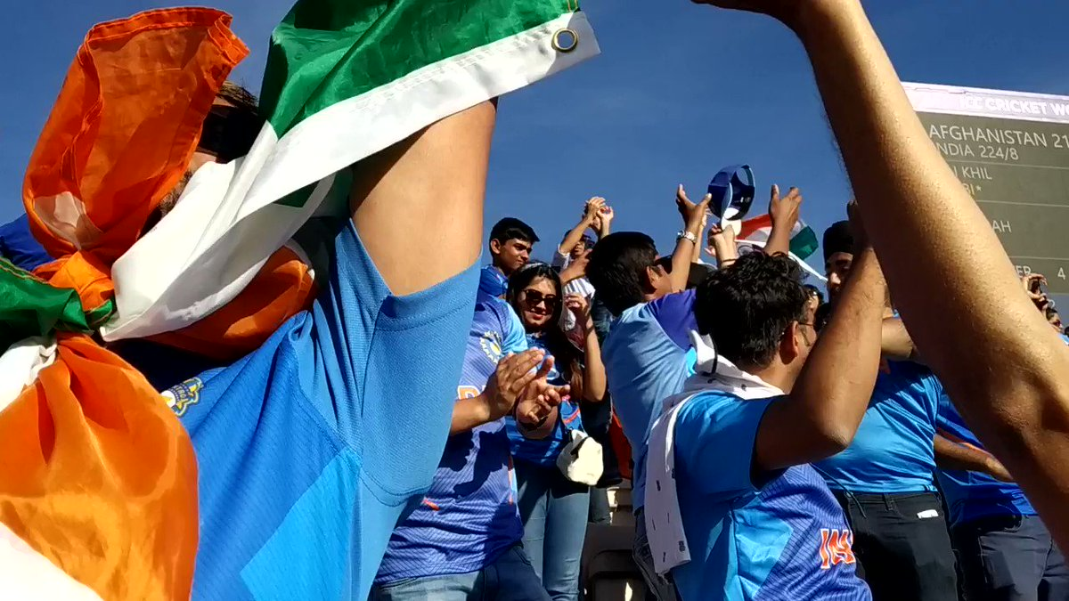 Shami hat-trick! India win! 👏 Their fans let out a sigh of relief – what a thriller this has been!#CWC19 | #TeamIndia | #AfghanAtalan
