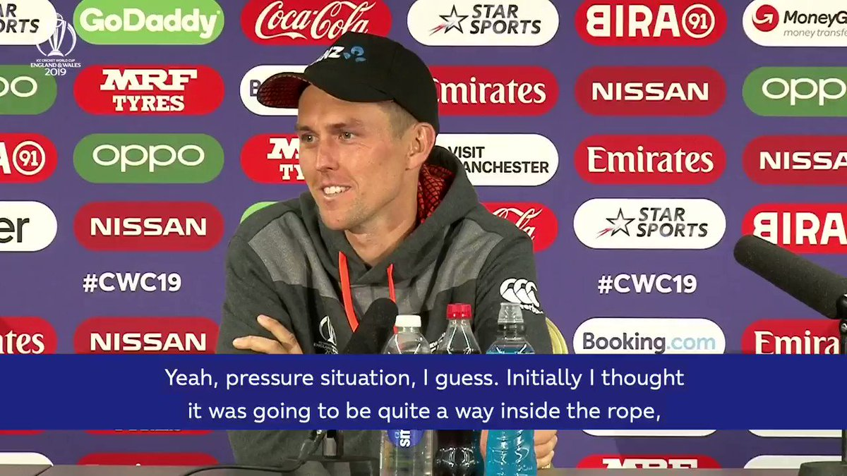 """""""I'm going to say that was pretty cool to watch.""""Even Trent Boult could only stand and admire when Carlos Brathwaite was doing his thing - that is, before he got the opportunity to take the match-winning catch!Here's how he describes the pressure moment.#CWC19"""