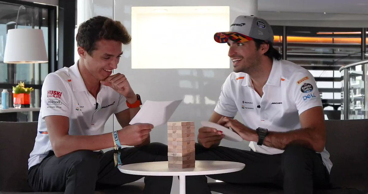 Ladies and Gentleman, welcome to the 'Wheel of Misfortune'. Introducing this week's contestants @LandoNorris & @CarlosSainz55. 👏🔄  Full video ➡️ http://mclrn.co/WheelMisfortune