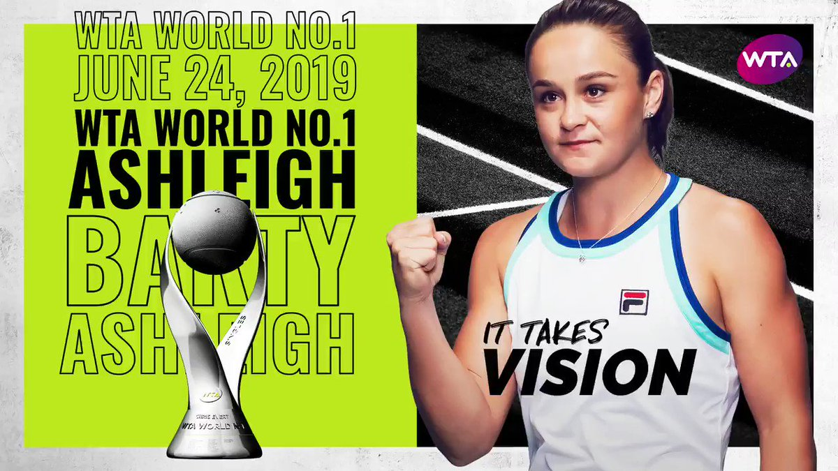 🇦🇺🏆 @ashbar96 becomes the second-ever Australian woman to reach the top singles ranking 🤩 --> http://wtatenn.is/GPTnhM  #ItTakesWTA