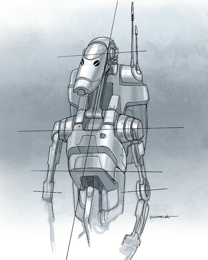 Lucasfilm VP and Executive Creative Director Doug Chiang shows off how to draw a battle droid from Star Wars: #ThePhantomMenace.