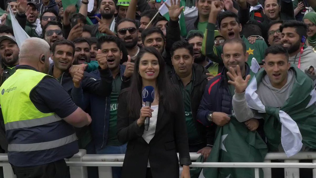 """""""It feels like we're in Pakistan. This certainly isn't Birmingham."""" @ZAbbasOfficial met with some delighted 🇵🇰 fans immediately after their team's victory against New Zealand.#CWC19 