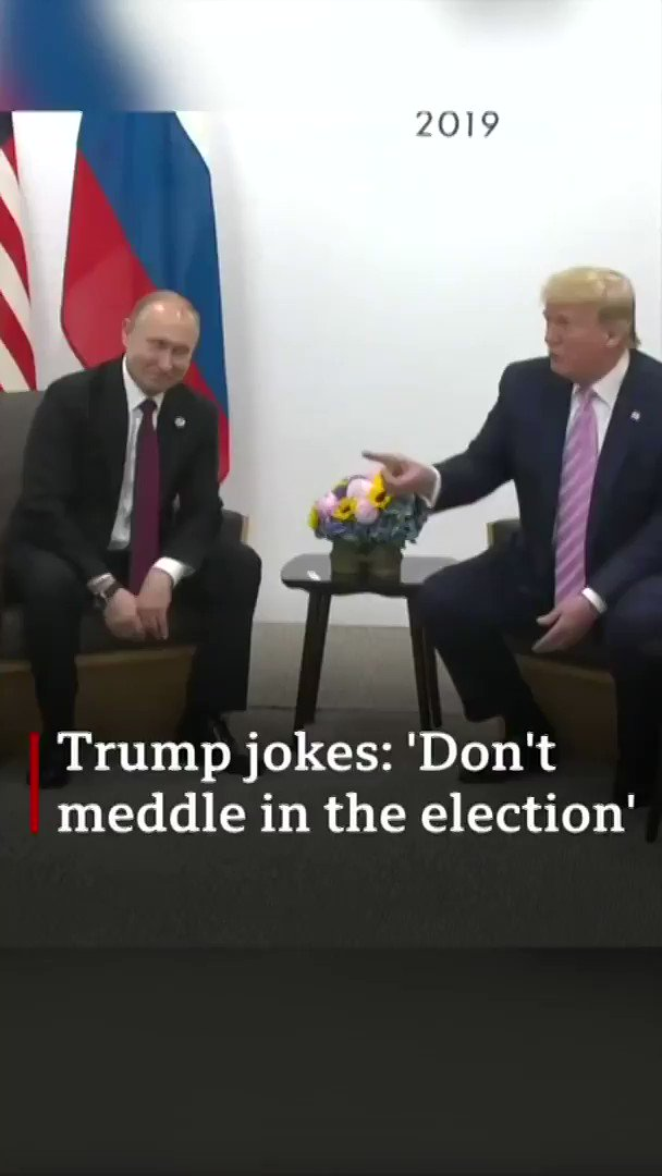 """Trump wags his finger and jokes to Putin: """"Don't meddle in the election""""  [Tap to expand] https://bbc.in/2IVtKfi"""