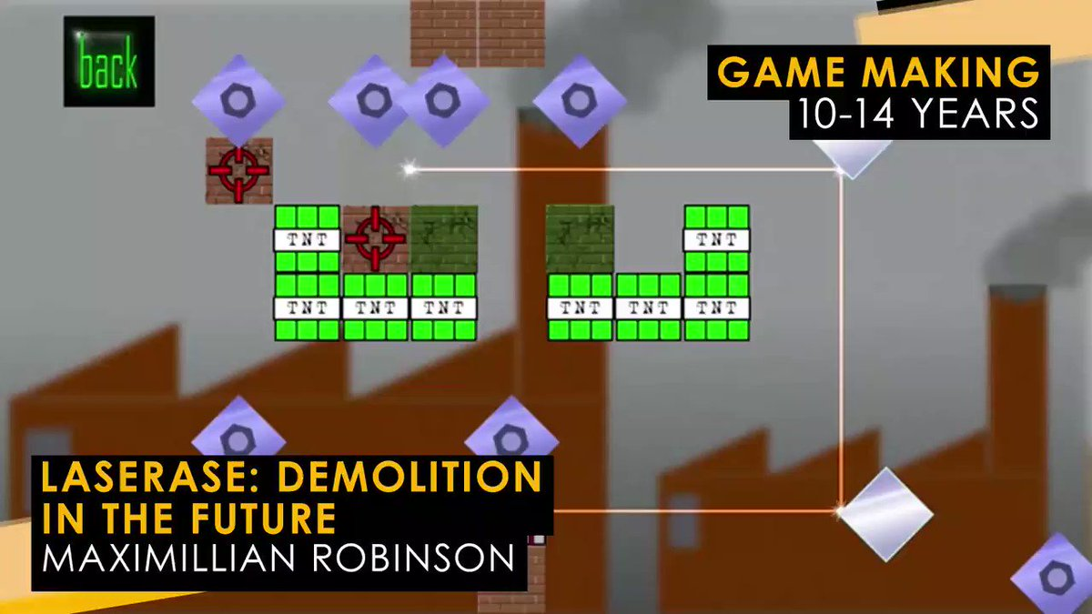 The #YGD2019 Game Making 10-14 award winner is... Maximillian Robinson for the explosive puzzle game LASERASE: Demolition in the future 💥🎮👏