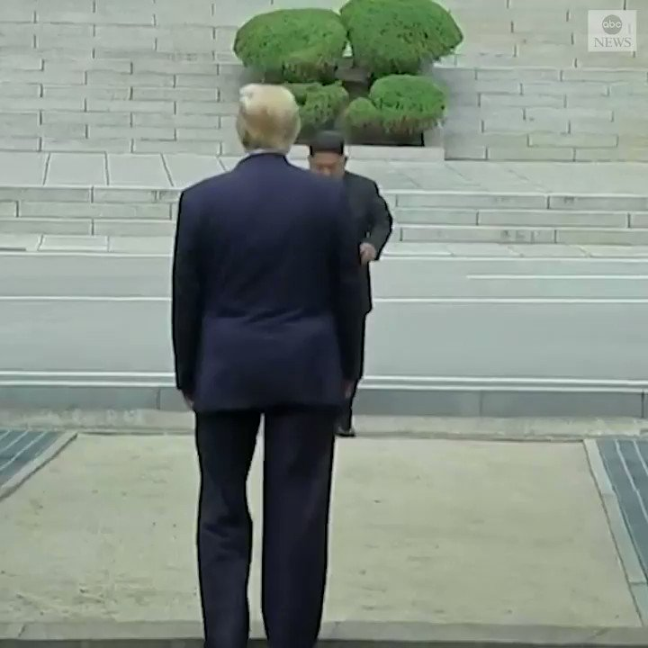 Pres. Trump became the first U.S. president to step into North Korea as he strode by himself across the demilitarized zone and shook hands with North Korean leader Kim Jong Un. https://abcn.ws/2IYnraw