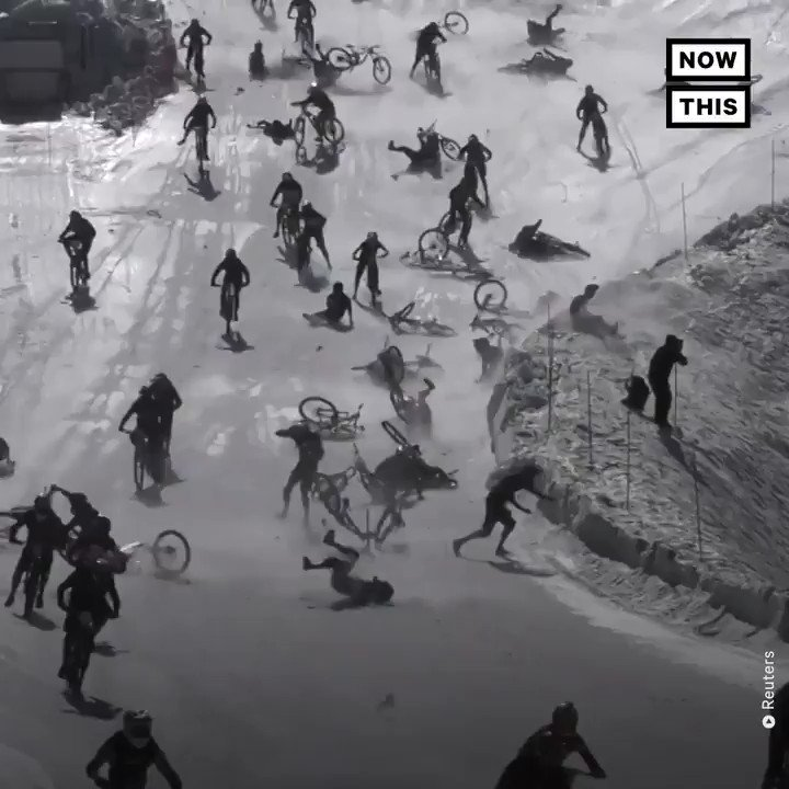 This famous bicycle race started with a huge crash. No injuries were reported.