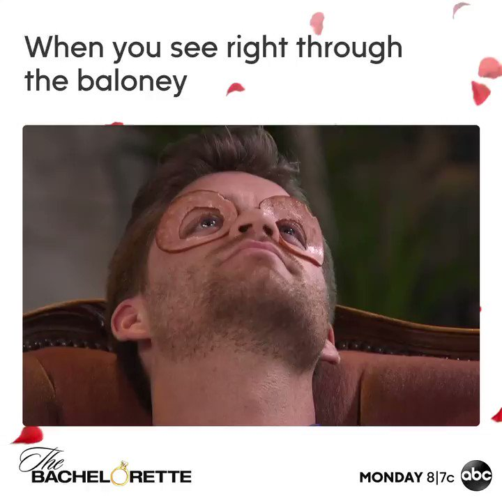 Didn't you hear? Bologna is the latest trend in eye masks. #TheBachelorette