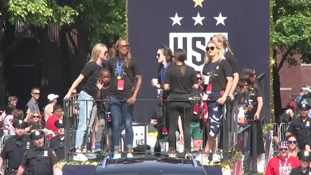 The ticker-tape parade for the @USWNT is underway in NYC! #USWNTParade