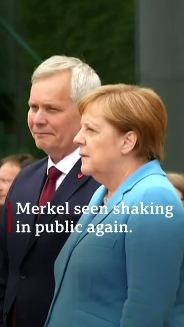 """I'm very well and it's nothing to worry about""  German Chancellor Angela Merkel insists she's fine despite being seen shaking for the third time in a month  [Tap to expand] http://bbc.in/2JtH7Uf"