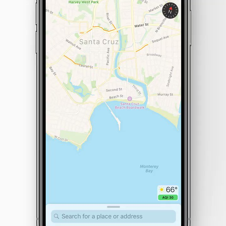 It's foggy in the park but sunny by the beach. Just press and hold the temperature icon in Maps to see the forecast for that spot. Press more firmly to pop open the Weather app.