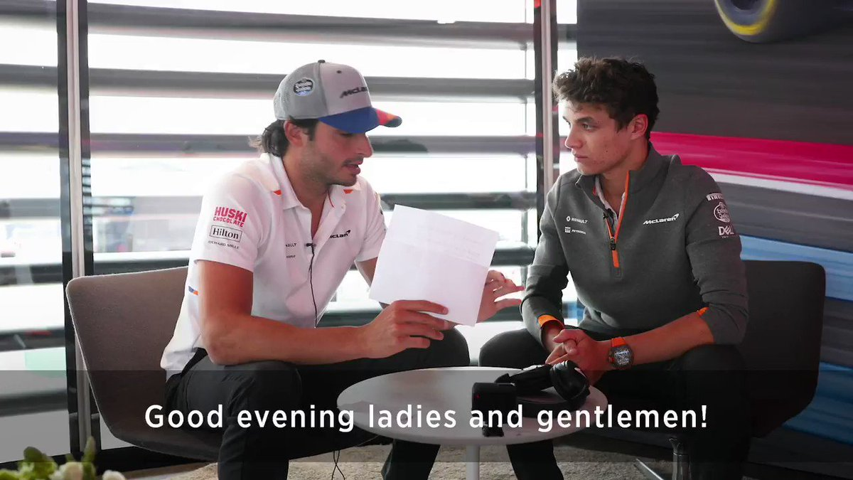 """""""Fans like... Formula 1!?"""" 🤨 See how Carlos and Lando got on when we presented them with the 'Whisper Challenge' at the #BritishGP. 🤫  Watch the full video 👀➡️ http://mclrn.co/Whisper"""