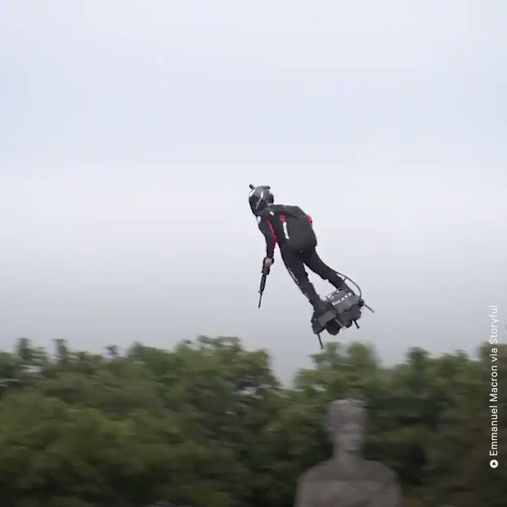 This inventor showed off his 'flyboard' during France's Bastille Day Parade — leading some to speculate on its military use