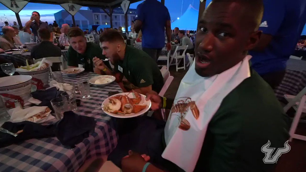 . @Wilcox_Mitchell offered a strong challenge, but @KirkLivingstone ran away with the crown again at the #AmericanKickoff Clambake. 🦞🦞🦞🦞🦞🦞 #BullStrong 🤘💪