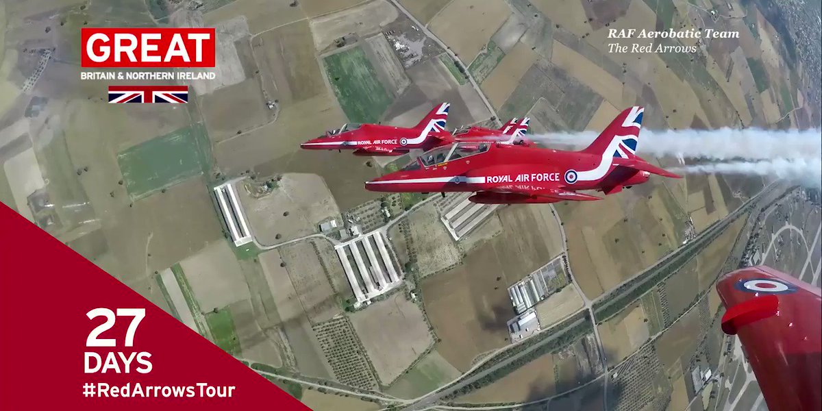 In 27 days, @RAFRedArrows will be touring 🇺🇸 & 🇨🇦 flying under the banner of the @GREATBritain campaign.    Each season's display is different – containing fresh moves and formations and is choreographed by Red 1, the Team Leader.   #RedArrowsTour
