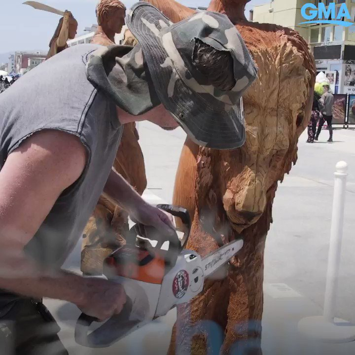 Chainsaw artist Stacy Poitras carves his version of the 7 deadly sins. gma.abc/2LTmGlf