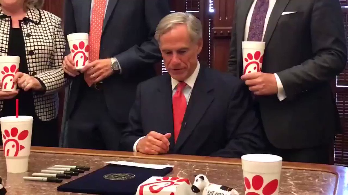 """""""Discrimination is not tolerated in Texas.""""  Yesterday, Texas Gov. Greg Abbott held a ceremony touting his signing of the """"Save Chick-fil-A"""" bill. http://hill.cm/xtbgwT0"""